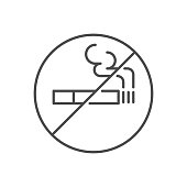 istock No smoking prohibition sign related vector thin line icon. 1219952369