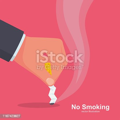 No Smoking. Quit smoking sign. Extinguish cigarette butt. Ban on bad habits. Cigarette in hand reject offer. Anti tobacco concept. Vector illustration flat design. Isolated on white background.