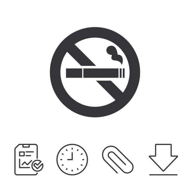 금연 팻말 아이콘크기. 시가렛형 기호까지. - prohibition stock illustrations