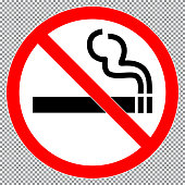 No smoking  sign or sticker. Forbidden sign icon isolated on transparent background vector illustration