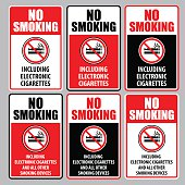 Vector of NO Smoking Including Electronic Cigarettes Sign set. EPS ai 10 file format.