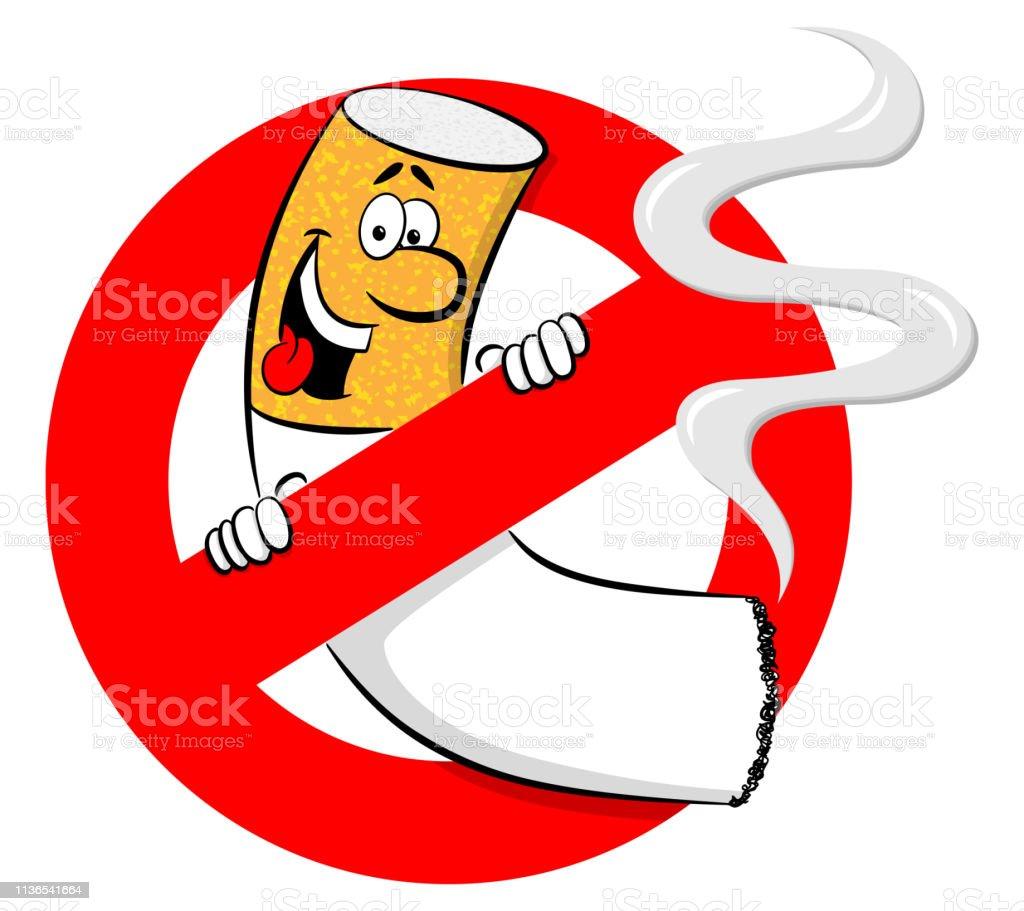 Ilustracion De No Fumar Cartel Con El Cigarrillo De Dibujos Animados