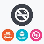 Stop smoking and no sound signs. Private territory parking or public access. Cigarette symbol. Speaker volume. Circle flat buttons with icon.