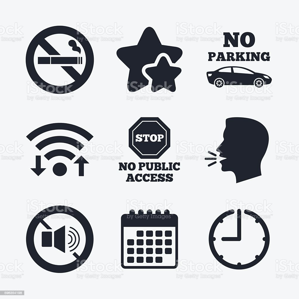 No Smoking, Sound. Private territory parking. royalty-free no smoking sound private territory parking stock vector art & more images of accessibility