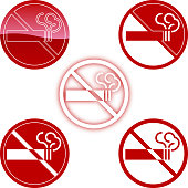 No smoking symbol in five style.