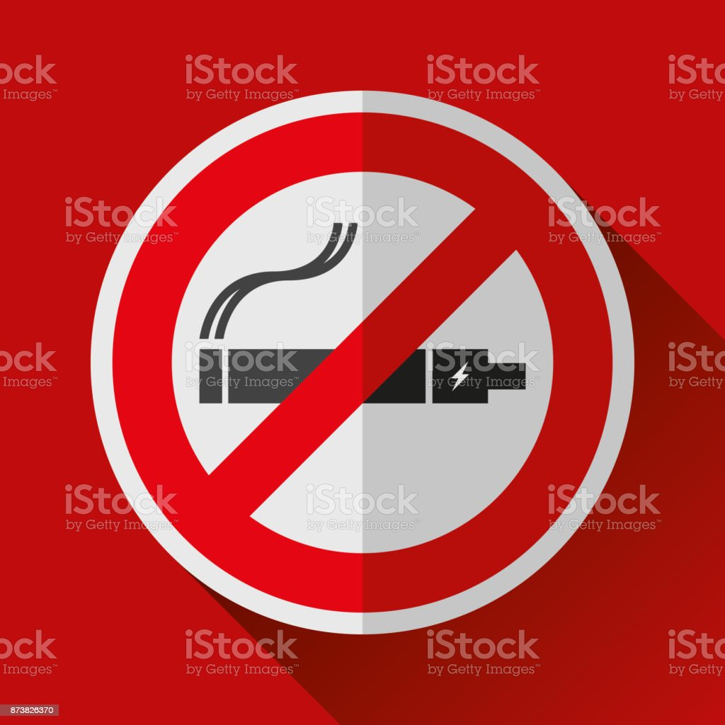 No Smoking Vape Sign Icon In Flat Style Stop Electronic Cigarette