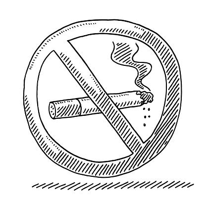 No Smoking Warning Sign Drawing