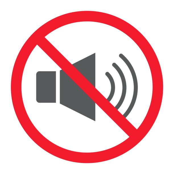 No sound glyph icon, prohibition and forbidden, no noise sign vector graphics, a solid pattern on a white background, eps 10. No sound glyph icon, prohibition and forbidden, no noise sign vector graphics, a solid pattern on a white background, eps 10. inconvenience stock illustrations