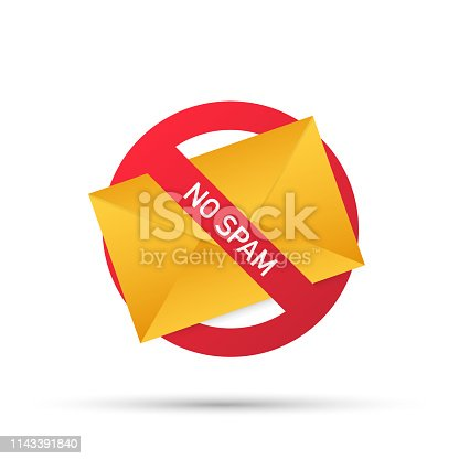 No spam with envelope. Spam Email Warning. Concept of virus, piracy, hacking and security. Envelope with spam. Vector stock illustration.