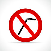 Vector illustration of no straws circle icon