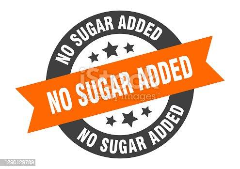 no sugar added sign. no sugar added round ribbon sticker. no sugar added tag