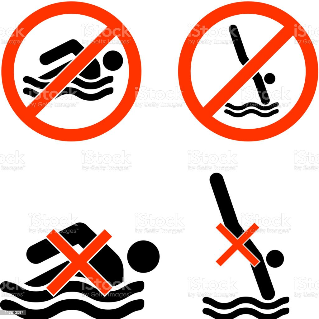 no swimming diving black and white royalty-free vector icon set vector art illustration