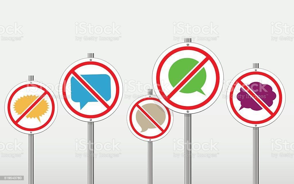 No talking signs vector art illustration