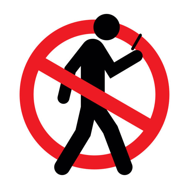 no texting while walking allowed vector - tylko dorośli stock illustrations