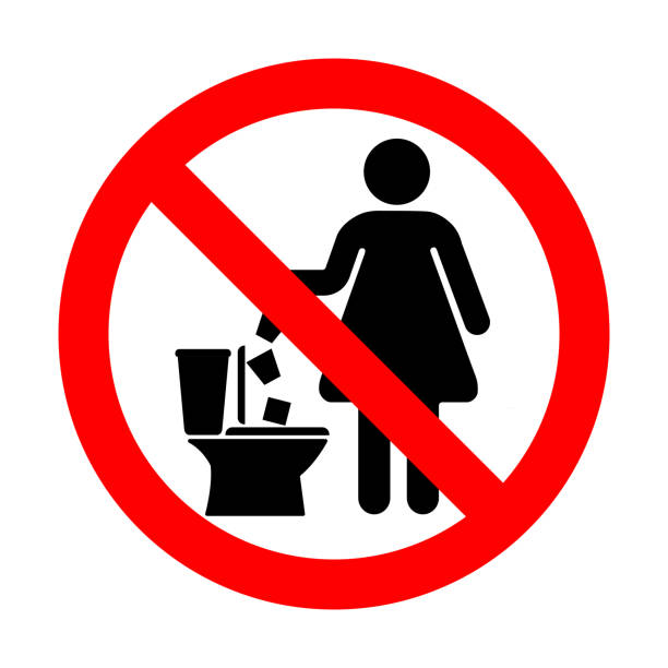 No throw paper sanitary pads and tampons in the toilet. No throw paper sanitary pads and tampons in the toilet. flushing water stock illustrations