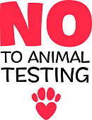 No to animal testing sign with heart and paw. Vector cruelty free badge.