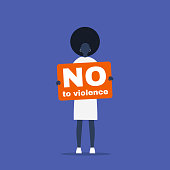 No to violence. Young black female activist holding a placard. Demonstration. Human rights. Flat editable vector illustration, clip art