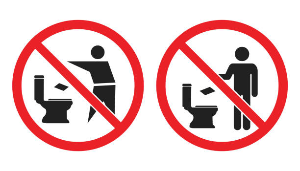 No toilet littering sign, do not throw paper towels in toilet icons No littering in toilet icons, please do not throw paper towels in the toilet signs flushing water stock illustrations