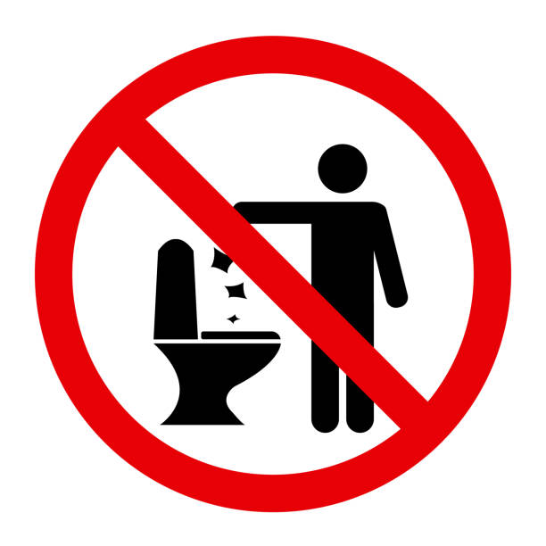 No Toilet Littering No Toilet Littering Sign Vector Illustration flushing toilet stock illustrations