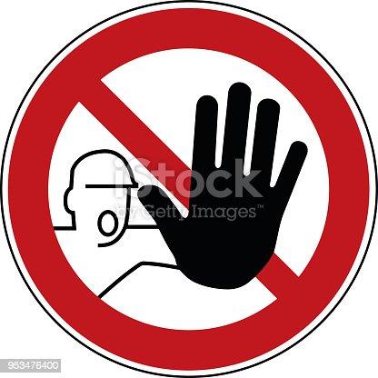 istock no trespass sign - trespassing prohibited symbol - stop pictogram 953476400