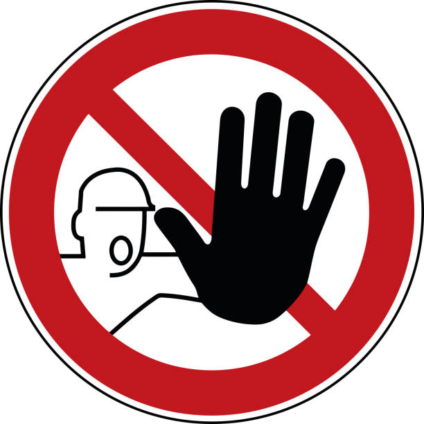 stockillustraties, clipart, cartoons en iconen met geen overtreding teken - trespassing verboden symbool - stop pictogram - stopbord