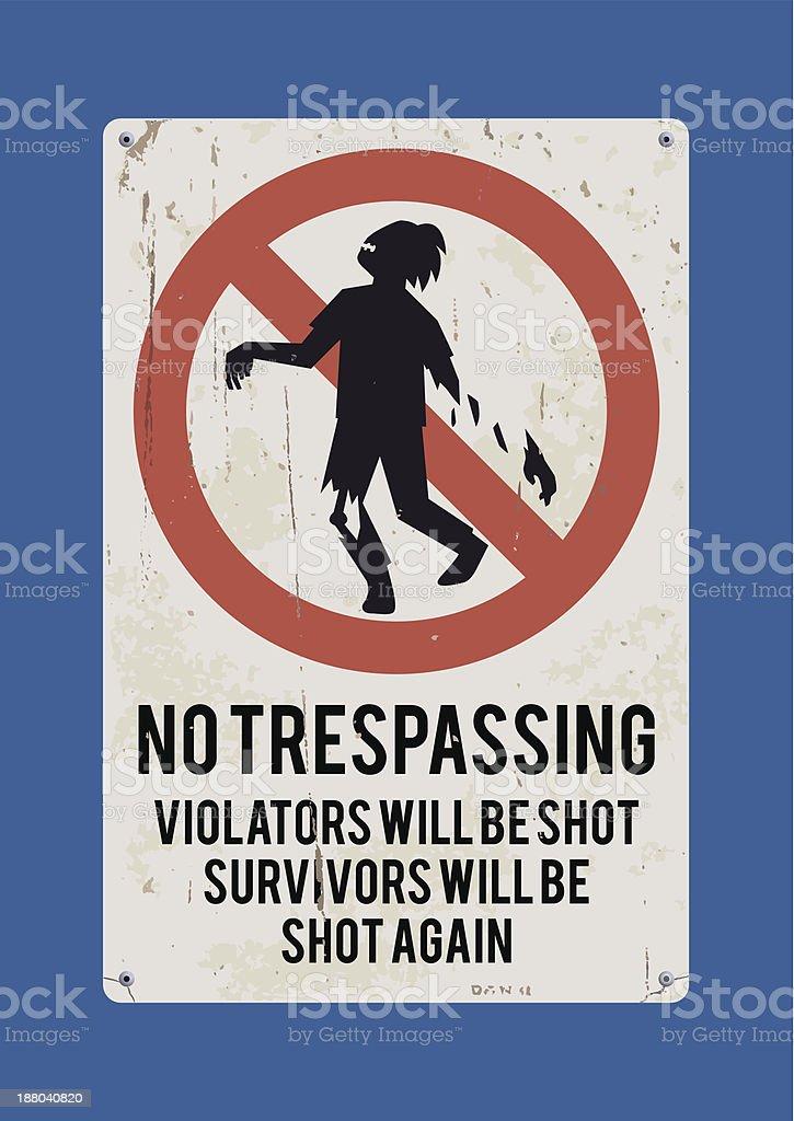 No tresspasing sign: Zombie vector art illustration