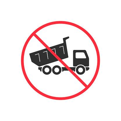 No truck dumping or unloading sign. Prohibit sign vector illustration