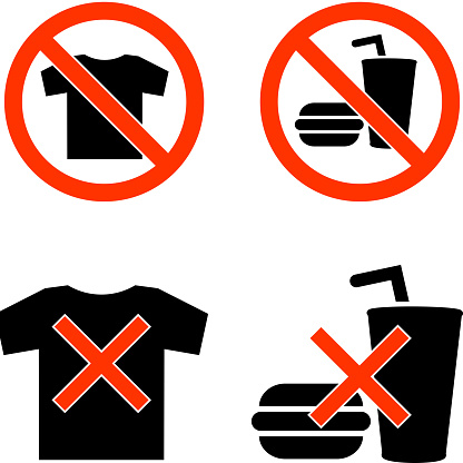 no t-shirts food black and white royalty-free vector icon set