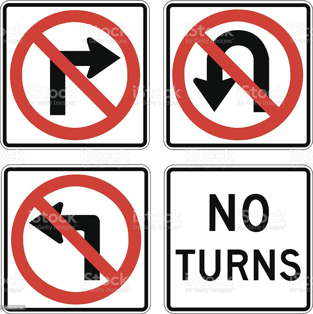 No Turns royalty-free stock vector art