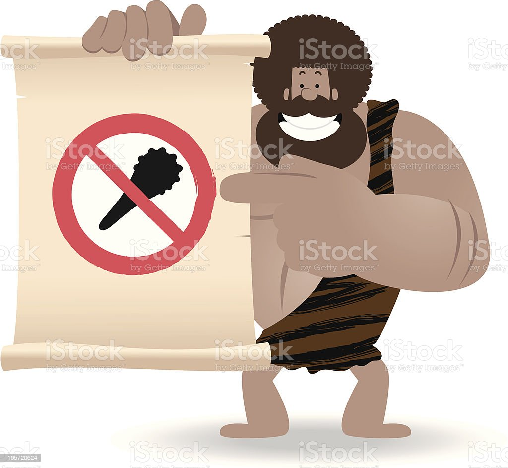 No Violence! Prehistoric man pointing a sign by index finger vector art illustration