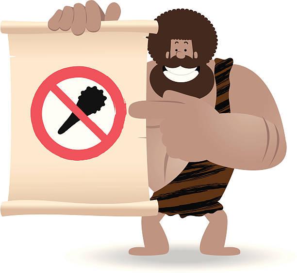 Ninguna violencia. Hombre prehistórico señalando una señal de dedo índice - ilustración de arte vectorial