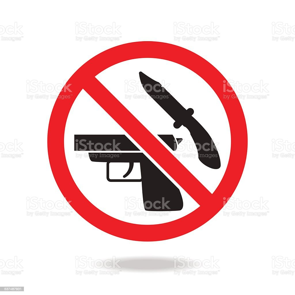 No weapons sign and symbol vector art illustration