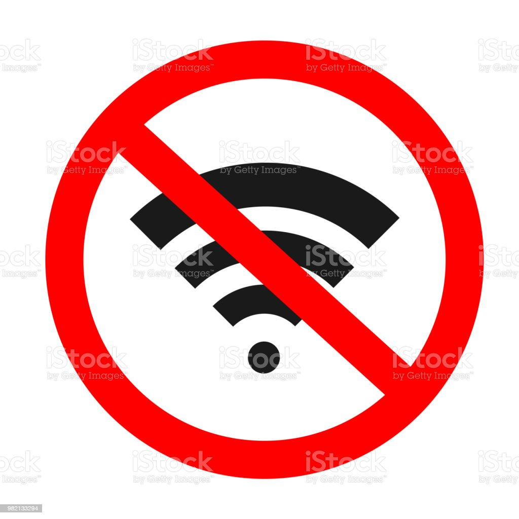 No Wifi Icon Vector Illustration Sign For Wifi Forbidden Areas No