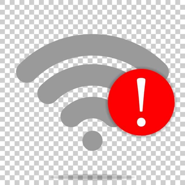 illustrazioni stock, clip art, cartoni animati e icone di tendenza di no wifi vector icon on transparent  background. wi-fi logo illustration. lack of internet - malvagità
