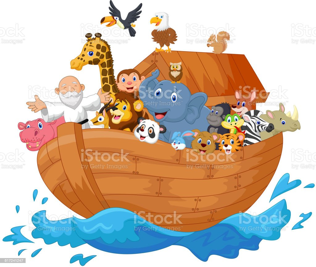 Noah ark cartoon vector art illustration