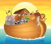 Fully editable vector illustration of a cartoon Noah's Ark.