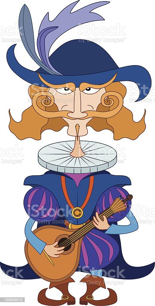 Noble cavalier with mandolin royalty-free stock vector art