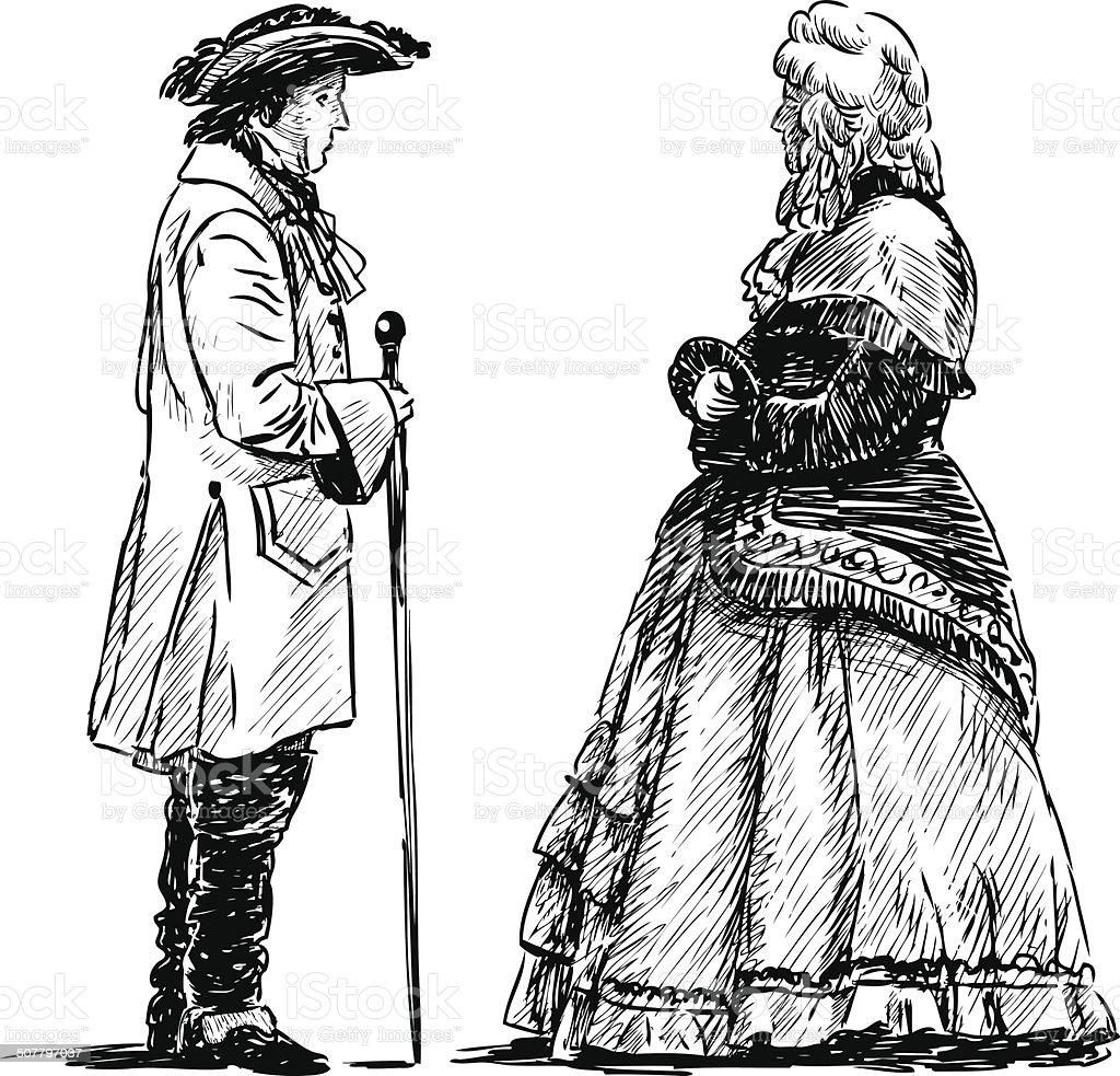 noble couple vector art illustration