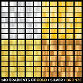 Gold gradient color noble metallic iridescent set. Vector icon set with 140 different metallic gold, silver and bronze gradient background texture. Illustration for  desing ribbon, brochure, banner,