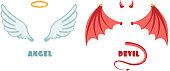 Nobody angel and devil suit. Innocent and mischief vector symbols. Angel and demon, devil satan illustration