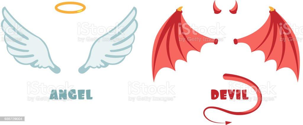 Nadie traje de Ángel y demonio. Símbolos vectoriales inocente y travesuras - ilustración de arte vectorial
