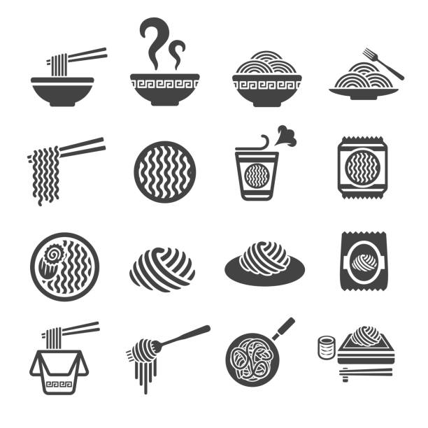 illustrazioni stock, clip art, cartoni animati e icone di tendenza di noddle icon - pasta