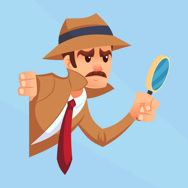 Noir detective with magnifying glass peeking out the corner cartoon flat design vector illustration eps10 Noir detective with magnifying glass peeking out the corner cartoon flat design vector illustration eps10 detective stock illustrations