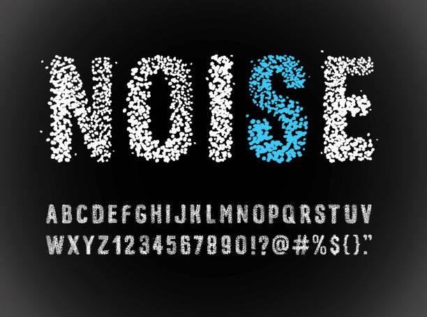 ilustraciones, imágenes clip art, dibujos animados e iconos de stock de alfabeto de fuente de ruido - font