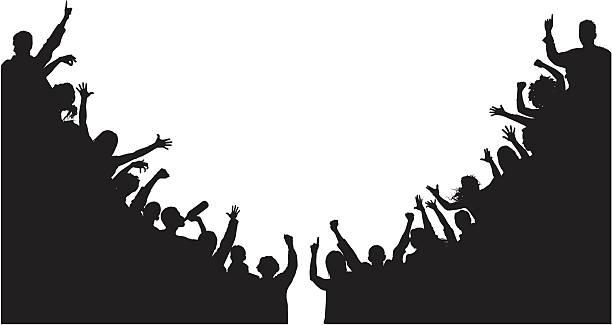 Noisy Corner Crowds vector art illustration