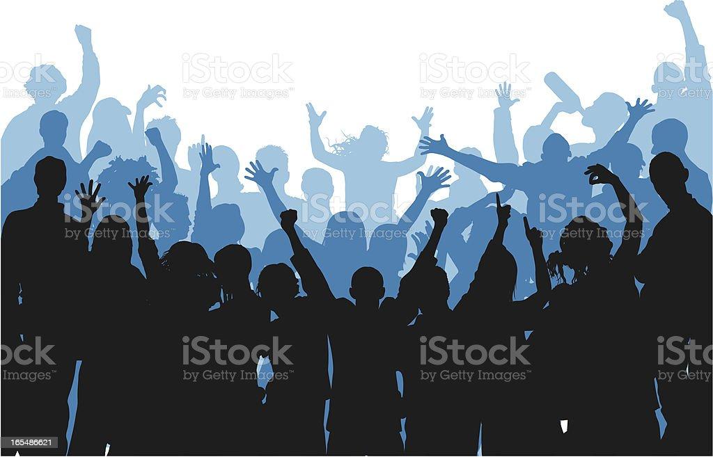 Noisy Curved Blue Crowd vector art illustration