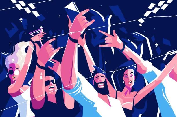 stockillustraties, clipart, cartoons en iconen met luidruchtige grappige menigte - party