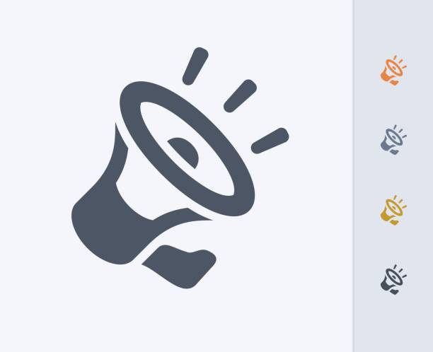laute lautsprecher - carbon-symbole - megaphone stock-grafiken, -clipart, -cartoons und -symbole