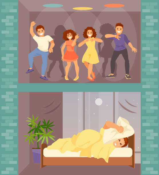 Noisy neighbors vector Man in bed with insomnia. Noisy neighbors from above arranged a party. Vector illustration inconvenience stock illustrations