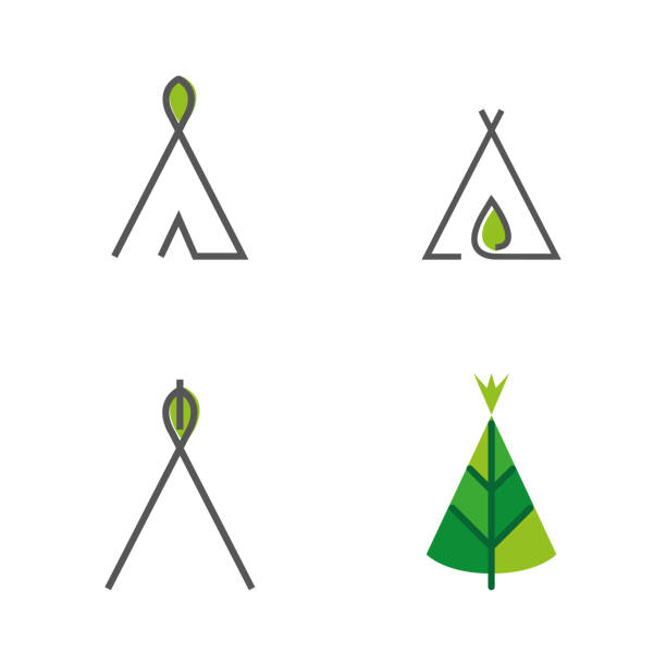 Nomad 4 A set of nomad tent icons teepee stock illustrations
